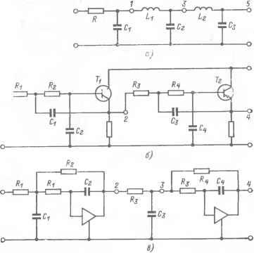 29,а показана схема пассивного П-образного индуктивно-емкостного фильтра нижних частот.  Точками 1, 3, 5 обозначены...
